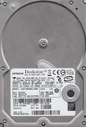 0A32779 MLC Hitachi HDS725050KLA360 500GB P//N BA1831