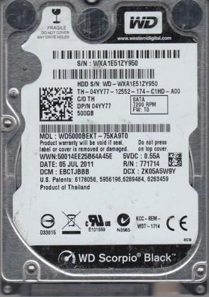 2060-771714-002 AC WD5000BEKT-80KA9T0 WD SATA 2.5 PCB